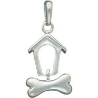 Sterling Silver Doghouse & Bone Pendant Charm Jewelry