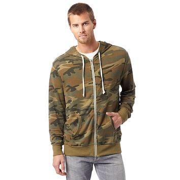 Alternative Apparel - Laid Back Printed Burnout French Terry Zip Camouflage Green Hoodie