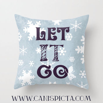 Frozen Christmas Xmas Throw Pillow Cover Decorative Holiday Let It Go Xmas Pastel Blue Snowflake Snow Navy White Elsa Quote Winter Gift Idea