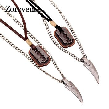 ZORCVENS Vintage Mens Necklace Alloy Animal Wolf Tooth Razor Blade Pendants Necklace Multilayer Metal Chain Choker Male Punk