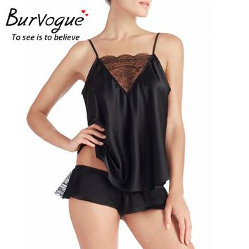 Burvogue Women Sexy Pajama Sets Deep V Camisole Satin Pajamas Shorts Set Sleepwear Pajamas New Spaghetti Strap Lace Pajamas