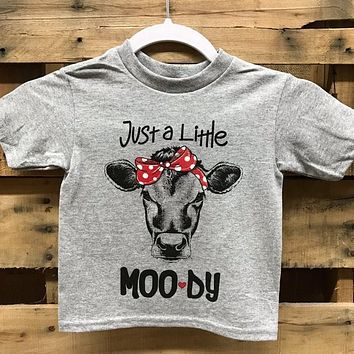 Southern Chics Funny Just a Little Moody Bandana Cow Toddler Youth Bright T Shirt