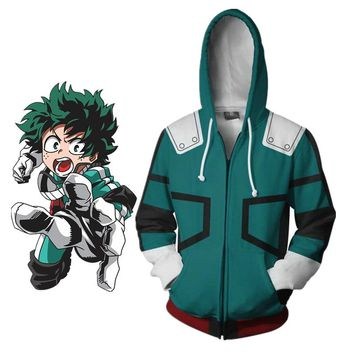 Anime My Hero Academia Izuku Midoriya costume hoodie jacket Boku no Hero Academia cosplay Sweatshirts Halloween women men