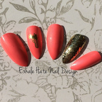 Shimmery Pink Nails with Gold Gun & Glitter Press On Nail Set