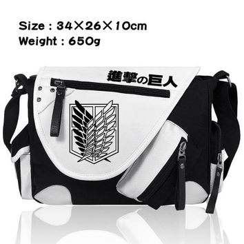 Japanese Anime Bag Attack on Titan Shingeki no Kyojin Single Shoulder Messenger Canvas School Bags Bookbag Satchel Cosplay  Bags AT_59_4