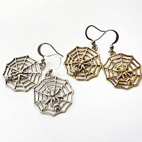 Spider Web Dangling Earrings: cobweb charms, Halloween jewelry