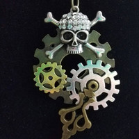 jeweled skull necklace,Steampunk Skull and Gear necklace, steampunk jewelry, steampunk necklace, skull necklace, gear jewelry,unique jewelry