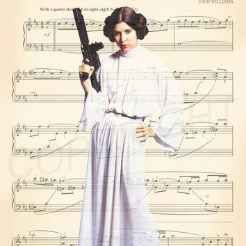 Carrie Fisher Star Wars Princess Leia White Gown Sheet Music Art Print