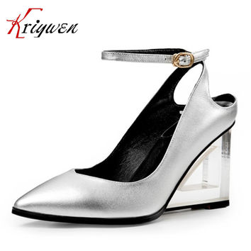 Spring genuine leather shoes for women pointed toe ankle strap pumps cow slingbacks high heels fashion footwear big size 32-42