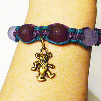 Grateful Dead Dancing Bear Purples Hemp Bracelet     handmade macrame jewelry  hippie   girls  women