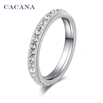 Small CZ  Surround Titanium Stainless Steel Rings For Women