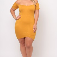 Plus Size Mimosa Bodycon Dress - Mustard