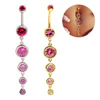 New Charming Dangle Crystal Navel Belly Ring Bling Barbell Button Ring Piercing Body Jewelry = 4672672196