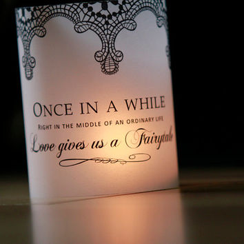 Lace Wedding Table Decor, Fairytale Decor Luminary, Wedding Luminaries, Black and White Wedding, Wedding Centerpieces- set of 10 Luminaries