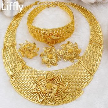 ... new appearance Liffly Women Jewellery Fashion Dubai Gold Jewelry Sets  Luxury Bi ee273a572d ... 859fe9c095