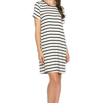 All About Stripes Dress Black