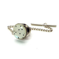 Dots White and Black Mother of Pearl Tie Tack – Dot Design MOP Tie Tac – White and Black Tie Tac