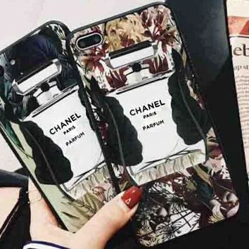 Chanel Trending Perfume Bottles Pattern Personality iPhone X Shell  iPhone 8plus Protective Cover  iPhone 7p Glass Case