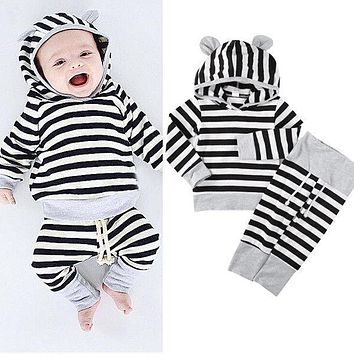 Newborn Baby Clothes Autumn Winter Striped Hoodies Top Pant 2pcs Outfits Infant Bebek Giyim Casual Bebes Suit 0-24M