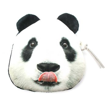 Realistic Panda Bear Face Shaped Soft Fabric Zipper Photo Print Coin Purse Make Up Bag