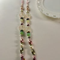 Pink Crystal Beaded Necklace, Long Necklace, Green Purple Necklace, Glitzy Jewelry, Statement Necklace, 36 Inch Necklace, Fashion Accessory