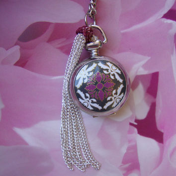 Retro purple  necklace Pocket Watch by inma2020 on Etsy