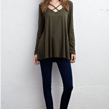 Olive Criss Cross Top