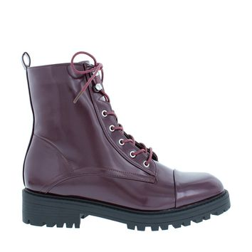 Sleek Combat Boot (BURGUNDY)
