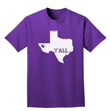 Texas State Y'all Design with Flag Heart Adult Dark T-Shirt by TooLoud
