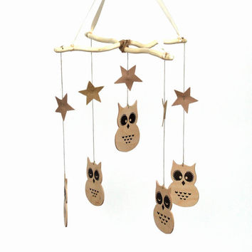 Nursery Mobile - Baby Mobile - Owl Mobile - Wooden baby mobile - Natural Mobile - Crib Mobile