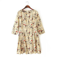 Cream Coffee Lady Print Sleeve Pleated Dress