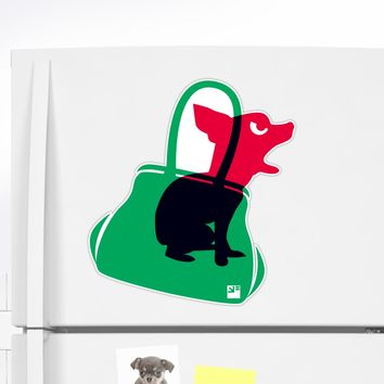 'Angry animals: chihuahua in little green bag' Sticker by VrijFormaat