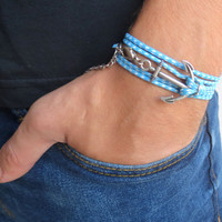 Men's Bracelet - Men's Anchor Bracelet - Men's Blue And White Bracelet - Mens Jewelry - Bracelets For Men - Jewelry For Men - Gift for Him