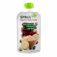 Sprout Organic Baby Food Pouch, Plum, Banana, & Blueberry with Quinoa, Stage 2 - 6 Months & Up