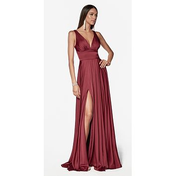 a53b228ca7 Cinderella Divine 7469 Sexy Long Prom Dress Burgundy Evening Satin Gown