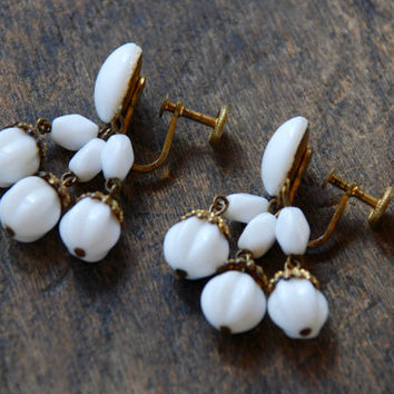 Vintage Screw Back Earrings White Milk Glass Beaded Dangle Gold Tone Made in Western Germany Late 1940's Retro // Vintage Costume Jewelry