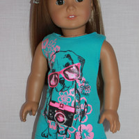18 inch doll clothes, dog graphic print tank dress , blue doll sleeveless dress,