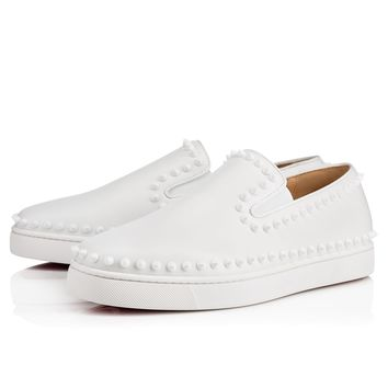Christian Louboutin Pik Boat Flat Men's Women's Flat White Leather 31304443047