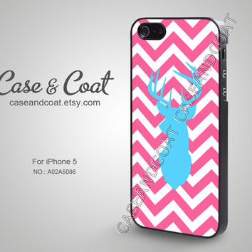 iPhone 5 Case, iPhone 4 Case, iPhone 5C Case, iPhone 5S Case, Phone Cases, iPhone Case, Blue Deer Head on Pink Chevron - A02A5086