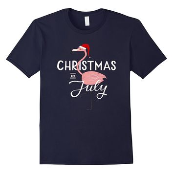 Christmas Flamingo In July T-Shirt