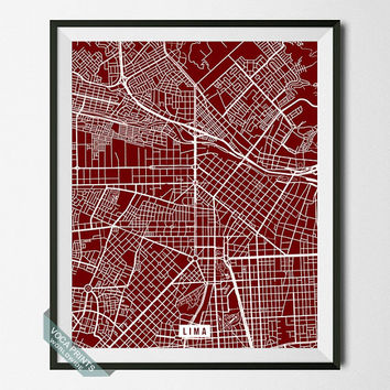 Lima Street Map, Peru Poster, Lima Print, Peru Print, Map Print, Room Decor, Livingroom Art, Home Decor, Wall Print, Back To School