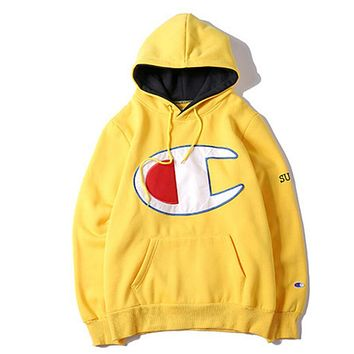 Supreme x Champion Fashion Casual Hoodie Long Sleeve Sport Top Sweater Pullover Sweatshirt Yellow