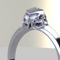 Double Skull Engagement Ring Diamond Halo by adamfosterjewelry
