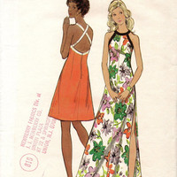 Retro Disco Style Party Dress Halter High Neckline 70s Sewing Pattern Butterick 6671 Mini Maxi Length Open Back Bust 34