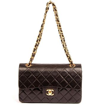 Chanel Black Lambskin Leather Flap Bag with Top Handle Classic Flap Shoulder Bag 5583 (Authentic Pre-owned)