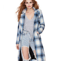 Plaid Notched Collar Long Sleeves Wool Coat With Pockets