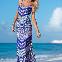 Blue Spaghetti Strap Vintage Print Maxi Dress