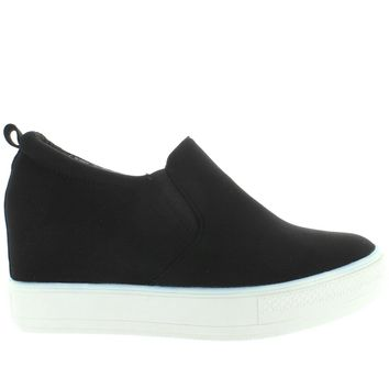 Wanted Aravalli - Black Nylon Platform/Hidden Wedge Pull-On Sneaker