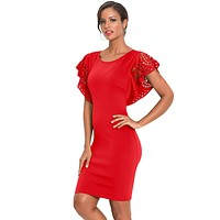 Red O-Neck Hollow Out Cloak Sleeve Bodycon Mini Dress