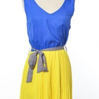 Starburst sleeveless pleated dress